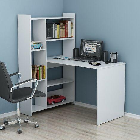 Ozmo Escritorio con libreria con estantes - de la sala de estar, dormitorio, estudio, oficina - Blanco en Madera, 118,7 x 91,4 x 140 cm