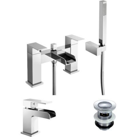 Ozone Bathroom Chrome Brass Modern Basin And Bath Shower Mixer Tap with Free Waste