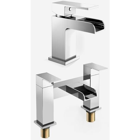 Ozone Square Mono Waterfall Chrome Bathroom Tap Set