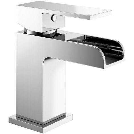 Ozone Square Mono Waterfall Chrome Bathroom Tap Set