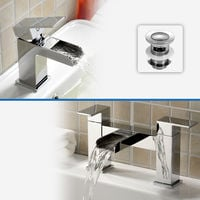 Ozone WATERFALL BRASS CHROME MODERN CLOAKROOM AND BATH FILLER MIXER TAP with Free Waste