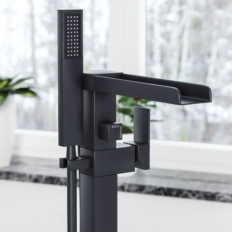 Ozone Waterfall Freestanding Black Matt Bath Shower Mixer Tap