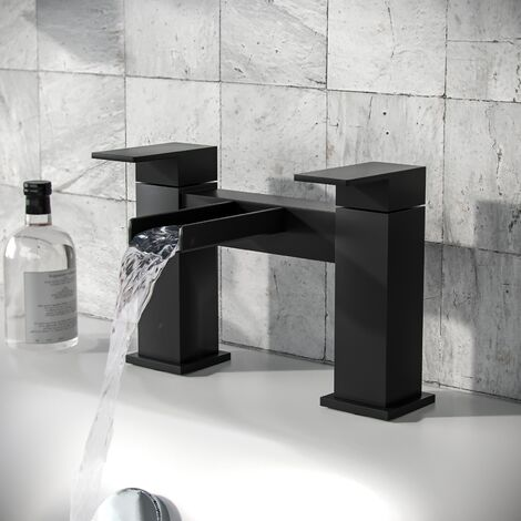 Ozone Waterfall Matte Black Bath Filler Tap