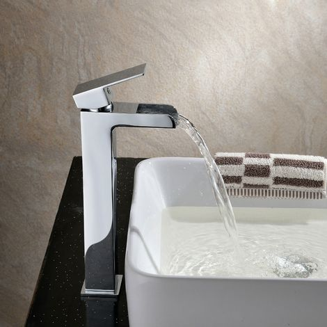 OZONE WATERFALL STYLE TALL BASIN MONO MIXER TAP LEVEL CHROME SOLID BRASS