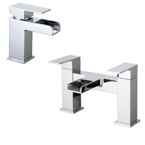 OZONE WATERFALL TAP SET - BASIN MONO & BATH FILLER MIXER