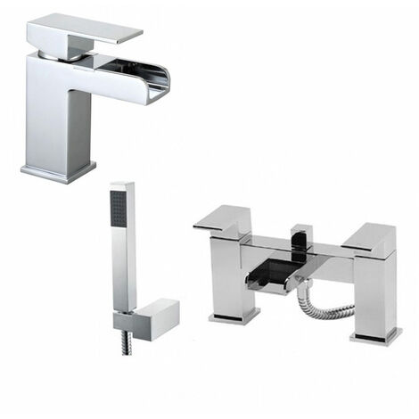 OZONE WATERFALL TAP SET - BASIN MONO & BATH SHOWER MIXER
