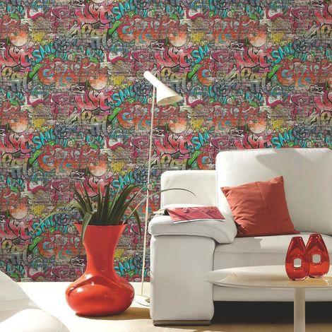 P+S Graffiti Tag Brick Wallpaper Urban Children Kids Teenager Bedroom Washable