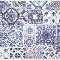 P+S International Moroccan Tile Effect Blue Wallpaper