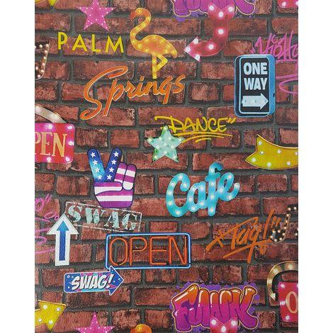 P+S Neon Signs Brown Brick Wallpaper Graffiti Stone Slate Typography Bar Kids