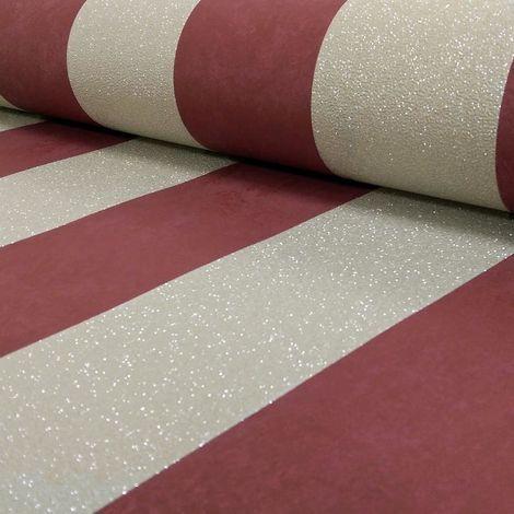 P+S Red/ Gold Metallic Stripe Wallpaper