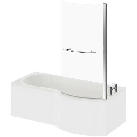 P Shape 12 Jet Chrome Easifit Spa Whirlpool Shower Bath 1700mm with Towel Rail Screen and Panel RH
