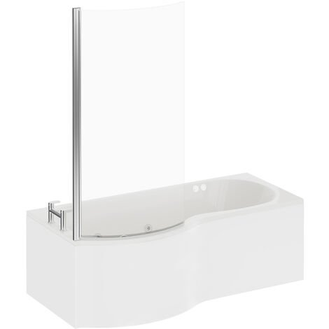 P Shape 12 Jet Chrome Flat Jet Whirlpool Shower Bath 1700mm with Screen and Panel LH