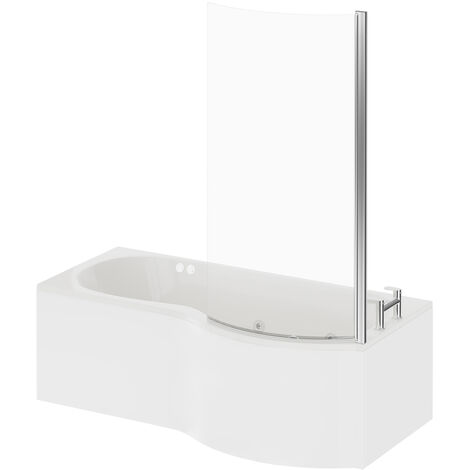 P Shape 12 Jet Chrome Flat Jet Whirlpool Shower Bath 1700mm with Screen and Panel RH