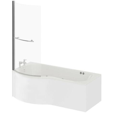 P Shape 12 Jet Chrome Flat Jet Whirlpool Shower Bath 1700mm with Towel Rail Screen and Panel LH