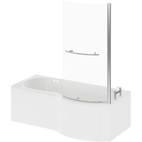 P Shape 12 Jet Chrome Flat Jet Whirlpool Shower Bath 1700mm with Towel Rail Screen and Panel RH