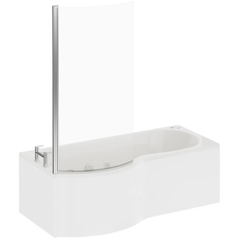 P Shape 12 Jet Chrome V-Tec Whirlpool Shower Bath 1700mm with Screen and Panel LH