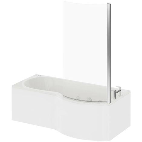 P Shape 12 Jet Chrome V-Tec Whirlpool Shower Bath 1700mm with Screen and Panel RH