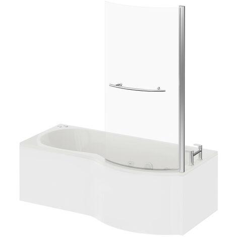 P Shape 12 Jet Chrome V-Tec Whirlpool Shower Bath 1700mm with Towel Rail Screen and Panel RH