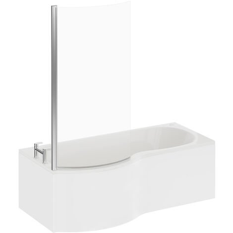 P Shape 12 Jet Easifit Spa Whirlpool Shower Bath 1700mm with Screen and Panel LH