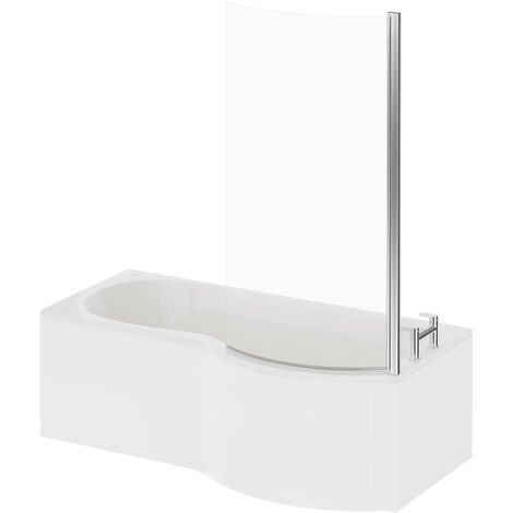 P Shape 12 Jet Easifit Spa Whirlpool Shower Bath 1700mm with Screen and Panel RH