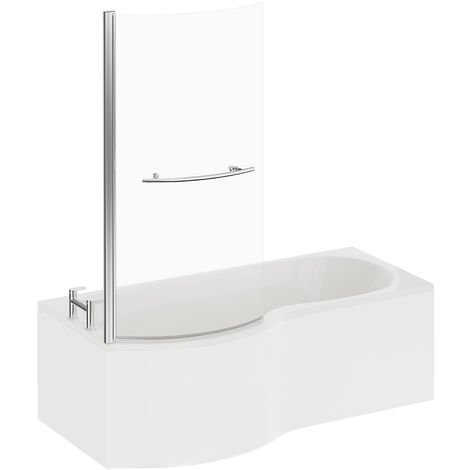 P Shape 1500mm Left Hand Shower Bath with Towel Rail Screen and Panel