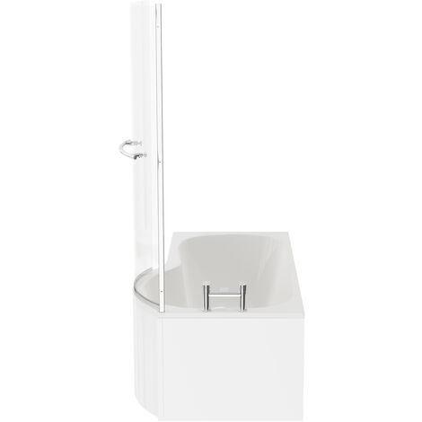 P Shape 1500mm Right Hand Shower Bath with Towel Rail Screen and Panel