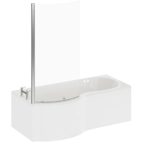 P Shape 6 Jet Chrome Flat Jet Whirlpool Shower Bath 1700mm with Screen and Panel LH