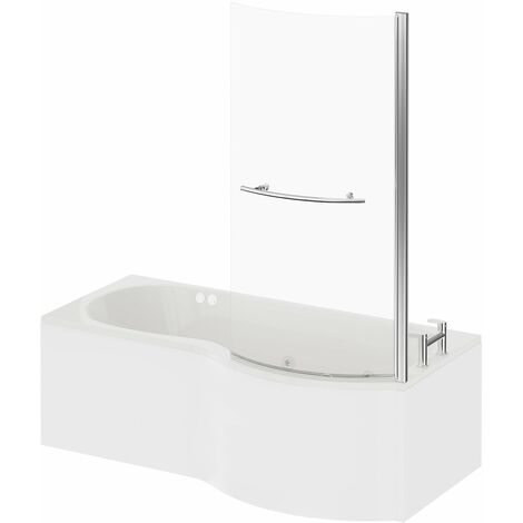 P Shape 6 Jet Chrome Flat Jet Whirlpool Shower Bath 1700mm with Towel Rail Screen and Panel RH