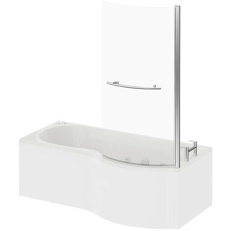 P Shape 6 Jet Chrome V-Tec Whirlpool Shower Bath 1700mm with Towel Rail Screen and Panel RH