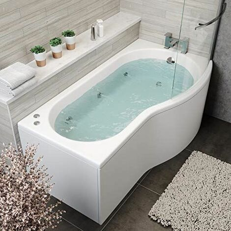 P Shape Whirlpool 1700 x 900mm RH Jacuzzi Bath Vitura 6 Jets Screen Front Panel