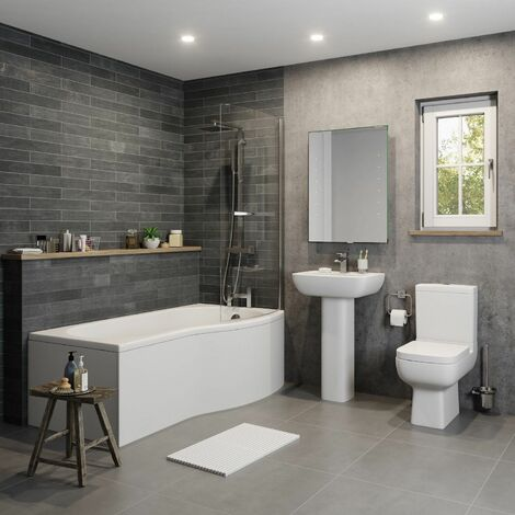 P Shaped 1700 Bathroom Suite Glass Screen LH/RH Bath Left Hand & Side/End Panel
