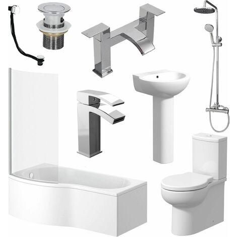 P Shaped Bathroom Suite LH Bath Screen Basin Toilet Shower Set