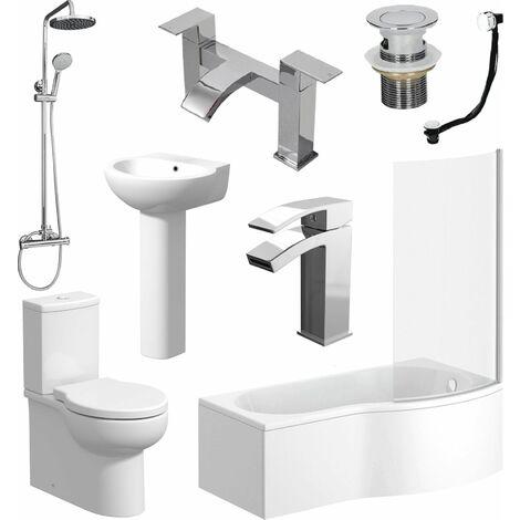 P Shaped Bathroom Suite RH Bath Screen Basin Toilet Shower Set