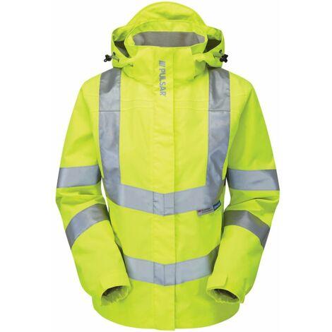P704 Ladies Hi-Vis Mesh Lined Breathable Storm Coat Yellow Size 8