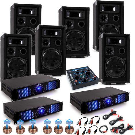 PA Anlage mit USB Mixer und sechs Boxen DJ-Karneval