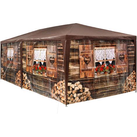 Pabellón 6x3m con 6 paneles laterales - cenador de jardín con piquetas, carpa para fiestas con estructura robusta, gazebo impermeable estable - marrón