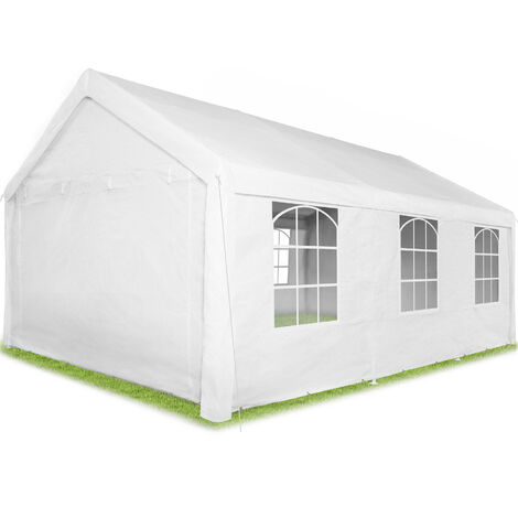 Pabellón Jasko - cenador de jardín con piquetas, carpa para fiestas con estructura robusta, gazebo impermeable con ventanas - blanco