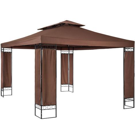 Pabellón para jardín lujoso Leyla - cenador elegante de jardín, carpa para fiestas con estructura robusta, gazebo estable para celebraciones