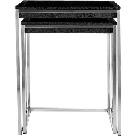 Pacific Nest of 2 Tables, Black Faux Shark Skin, Stainless Steel / Silver Frame