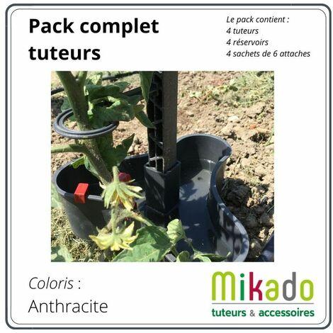 PACK 1 ANTHRACITE : 4 tuteurs 150 cm, 4 reservoirs, 4 sachets de 6 attaches