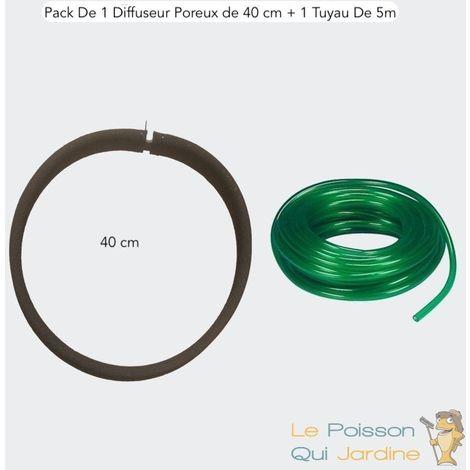 PAck 1 Diffuseur D'Air Poreux PREMIER PRIX 40 cm. à Lester + 1 Tuyau De 5m, Bassins - Noir