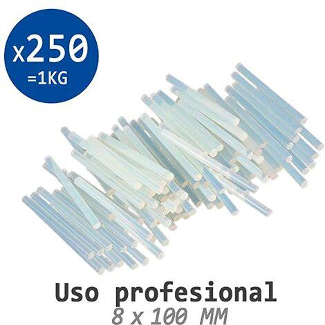 Pack 1 Kg De Cola Termofusible 250 Barras Minis De Silicona Traslúcida Para Pistola Caliente 8 X 100 Mm - Manualidades - Fabricada En España 100%