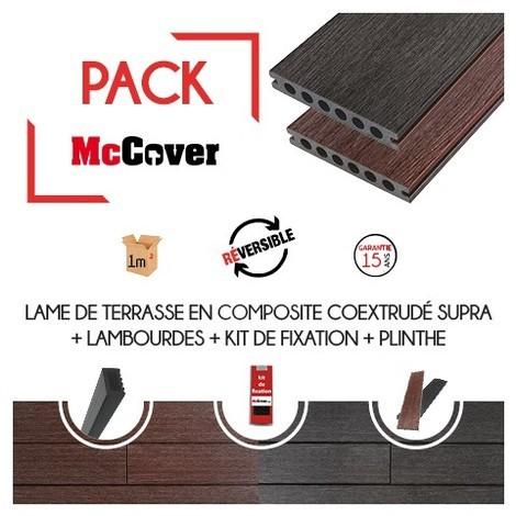 PACK 1 m² lame de terrasse composite coextrudé Supra avec ACCESSOIRES (4 coloris) 3600 x 145 x 23 mm