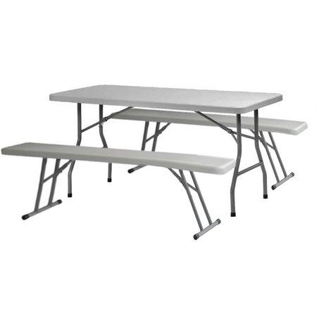 Pack 1 Table polyéthylène 183cm + 2 bancs polyéthylènes