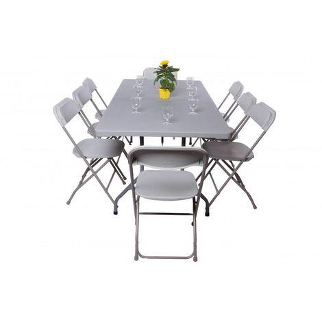 Pack 1 table polyéthylène 183x76 cm + 8 chaises polypropylènes - 3