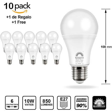 Pack 10 Bombillas LED Bajo Consumo AVILA A60 10W con 850 Lm. · 6500K Blanco Frío
