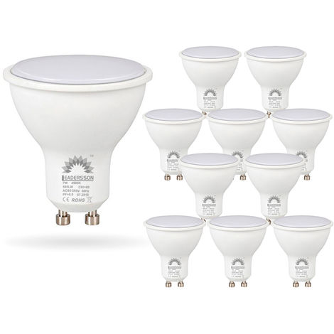 Pack 10 Bombillas LED Bajo Consumo BERLIN GU10 7W con 595 Lm 3000K Blanco Cálido