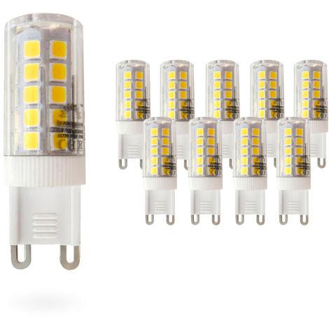 Pack 10 Bombillas LED Bajo Consumo MOSCU G9 (Tubular Cerámica) 5W con 475 Lm. 3000K Blanco Cálido