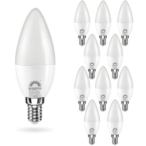 Pack 10 Bombillas LED E14 Bajo Consumo CHILE C37 6W con 510 Lm. 4500K Blanco Neutro