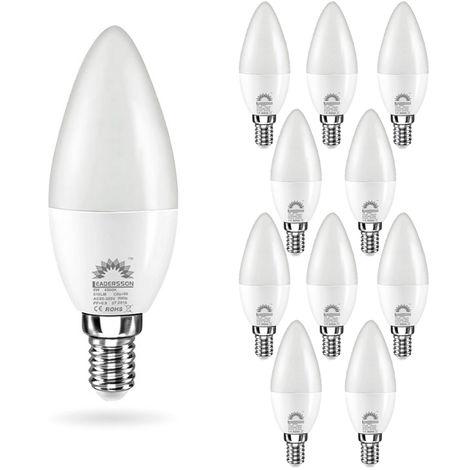 Pack 10 Bombillas LED E14 Bajo Consumo CHILE C37 6W con 510 Lm. 6000K Blanco Frío